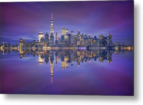 Night Metal Print featuring the photograph Skyline From Nj by Carlos F. Turienzo