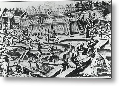 People Metal Print featuring the photograph The Building Of Noahs Ark by Bettmann