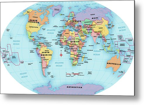 Horizontal Metal Print featuring the digital art World Map, Continent And Country Labels by Globe Turner, Llc