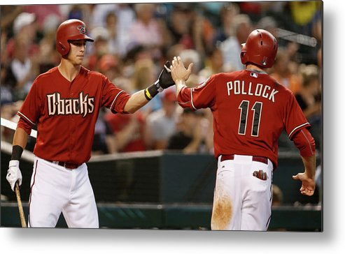 American League Baseball Metal Print featuring the photograph A. J. Pollock by Christian Petersen