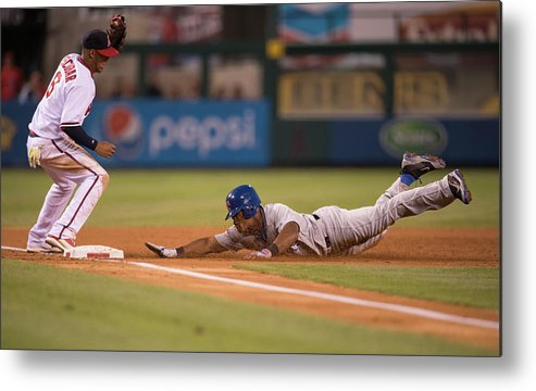Adrian Beltre Metal Print featuring the photograph Adrian Beltre and Yunel Escobar by Matt Brown