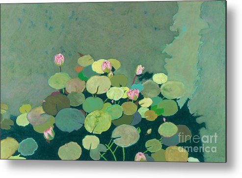 Landscape Metal Print featuring the painting Bettys Serenity Pond by Allan P Friedlander