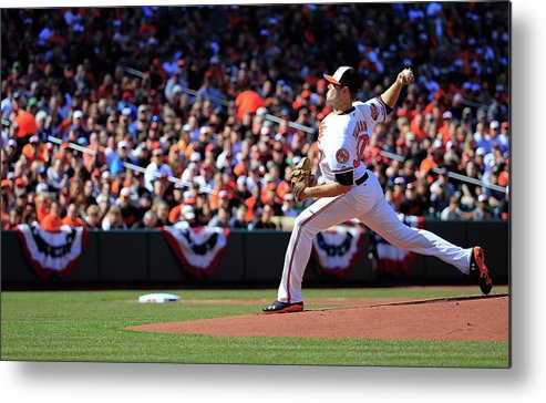 American League Baseball Metal Print featuring the photograph Chris Tillman by Rob Carr