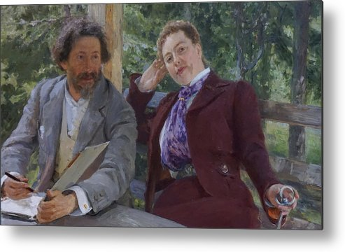 Ilya Repin Metal Print featuring the painting Double Portrait of Natalia Nordmann and Ilya Repin by Ilya Repin