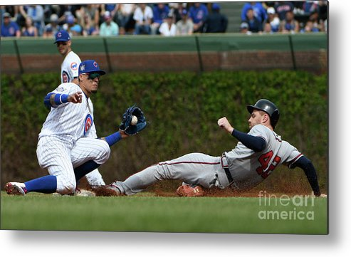 People Metal Print featuring the photograph Freddie Freeman and Javier Baez by David Banks