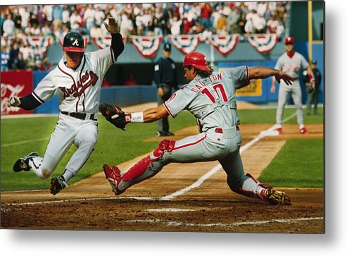 Atlanta Metal Print featuring the photograph Jeff Blauser and Darren Daulton by Ronald C. Modra/sports Imagery