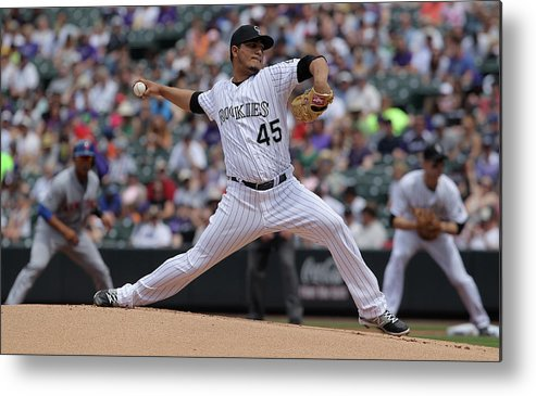 Defeat Metal Print featuring the photograph Jhoulys Chacin by Doug Pensinger