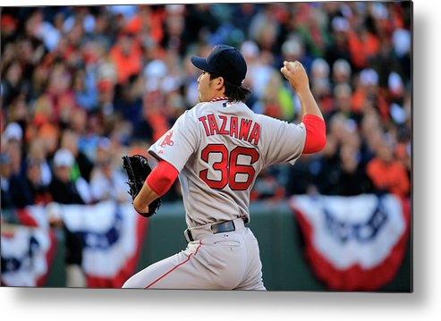 American League Baseball Metal Print featuring the photograph Junichi Tazawa by Rob Carr