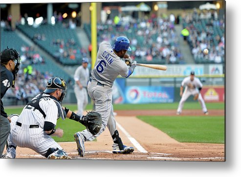 American League Baseball Metal Print featuring the photograph Lorenzo Cain, Alex Gordon, and Billy Butler by Brian Kersey