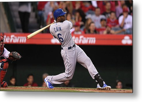 American League Baseball Metal Print featuring the photograph Lorenzo Cain by Stephen Dunn