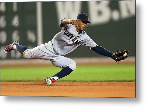 People Metal Print featuring the photograph Rusney Castillo and Francisco Lindor by Jim Rogash