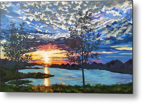 Sunset Metal Print featuring the painting Texas Twilight by Allison Fox