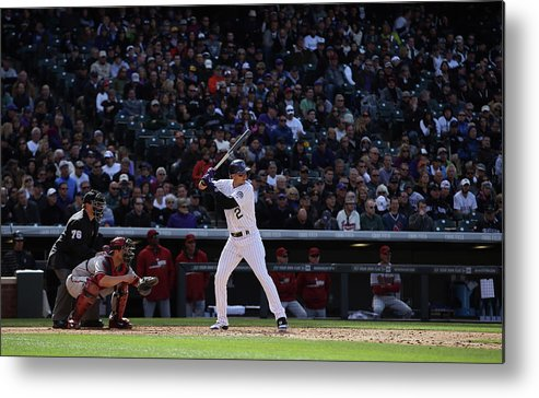 Baseball Catcher Metal Print featuring the photograph Troy Tulowitzki and Miguel Montero by Doug Pensinger
