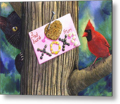 Cat Metal Print featuring the painting 2 Red Burd by Catherine G McElroy