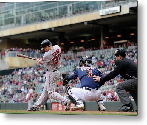 Ninth Inning Metal Print featuring the photograph Boston Red Sox V Minnesota Twins by Hannah Foslien