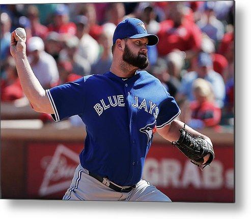American League Baseball Metal Print featuring the photograph Toronto Blue Jays V Texas Rangers by Brandon Wade