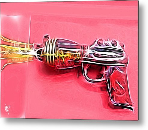 Ray Gun Metal Print featuring the mixed media ZAP by Russell Pierce