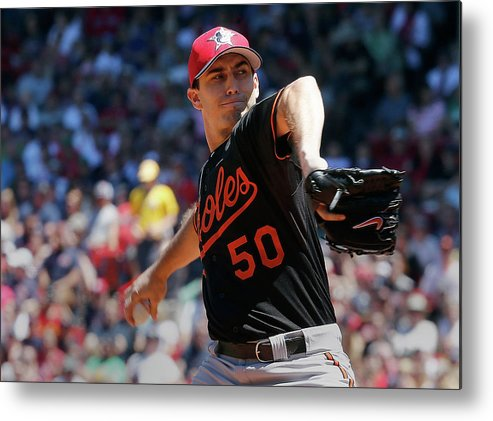 American League Baseball Metal Print featuring the photograph Baltimore Orioles V Boston Red Sox - by Jim Rogash