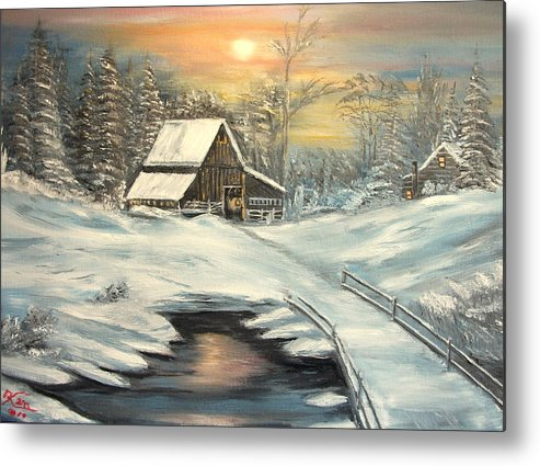 Winter Metal Print featuring the painting Winter by Kenneth LePoidevin
