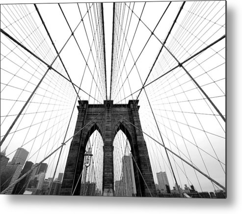 Ny Metal Print featuring the photograph NYC Brooklyn Bridge by Nina Papiorek