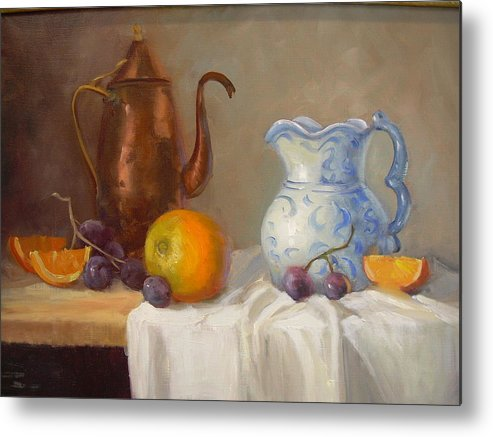 Metal Print featuring the painting Antique Pitcher by Naomi Dixon