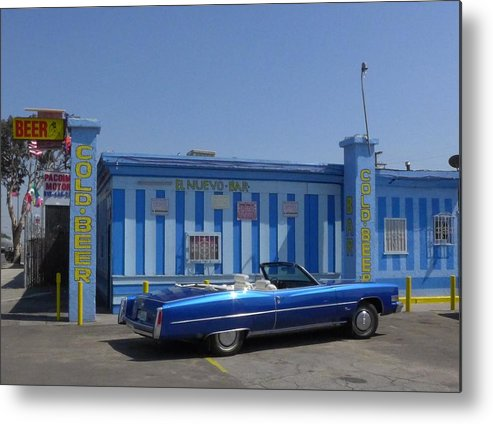 Music Metal Print featuring the photograph Blue Cadillac At The Nuevo Bar by Jim Steinfeldt