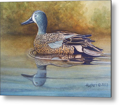 Rick Huotari Metal Print featuring the painting Blue Winged Teal by Rick Huotari