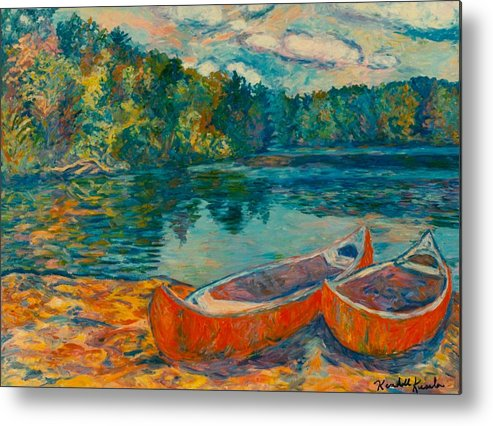 Landscape Metal Print featuring the painting Canoes at Mountain Lake by Kendall Kessler