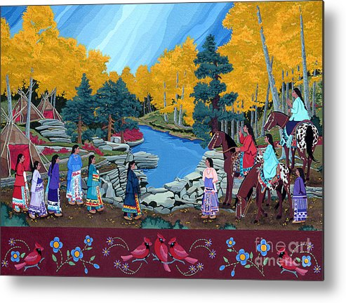 America Metal Print featuring the painting Cloud Women At Thunderbird Mountain by Chholing Taha