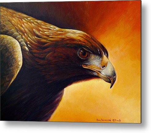 Falconry Metal Print featuring the painting Concentration by Anna Franceova