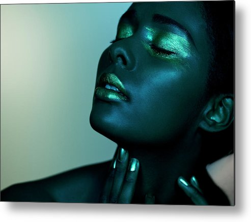 People Metal Print featuring the photograph Dark Image Of Black Female Closed Eyes by Jonathan Storey