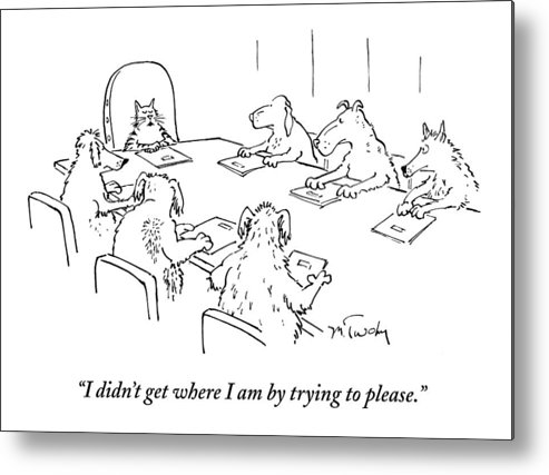 Caption Contest Tk Metal Print featuring the drawing Dogs At A Meeting by Mike Twohy