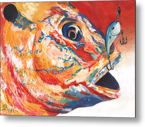 Expressionism Metal Print featuring the painting Expressionist Blue Gill On Lure by Sonya Barnes