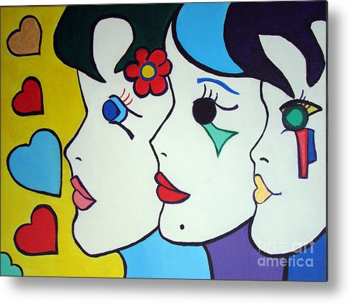 Pop-art Metal Print featuring the painting Falling in Love by Silvana Abel