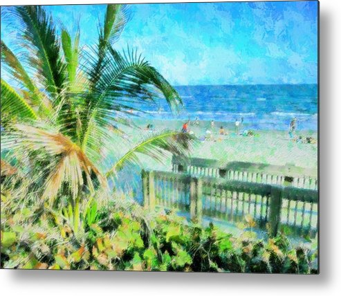 Beach Metal Print featuring the mixed media From The Boardwalk by Florene Welebny