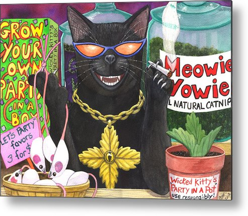 Cat Metal Print featuring the painting Get Your Nip On by Catherine G McElroy