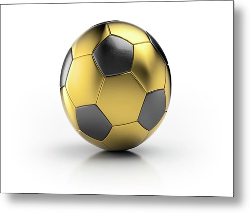 White Background Metal Print featuring the photograph Gold Football by Atomic Imagery
