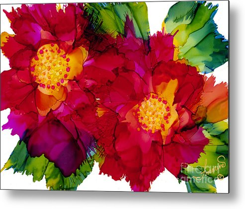 Flowers Metal Print featuring the painting Happy to See You by Francine Dufour Jones