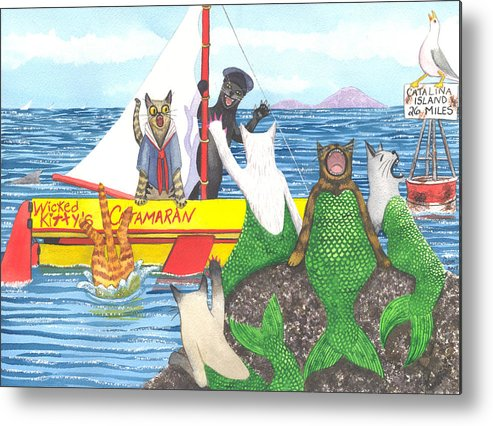 Cat Metal Print featuring the painting Hello Mer Kitties by Catherine G McElroy