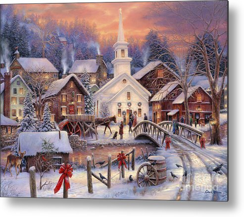 Snow Village Metal Print featuring the painting Hope Runs Deep by Chuck Pinson
