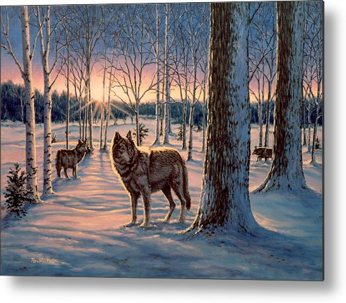 Wolf Metal Print featuring the painting Hunters at Twilight by Richard De Wolfe