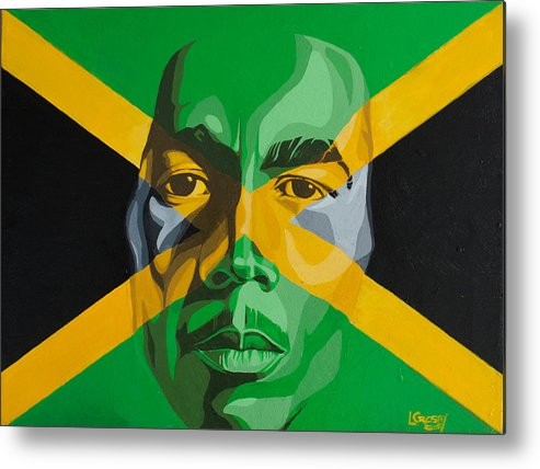 Bob Marley Metal Print featuring the painting I am Jamaica by Lamark Crosby