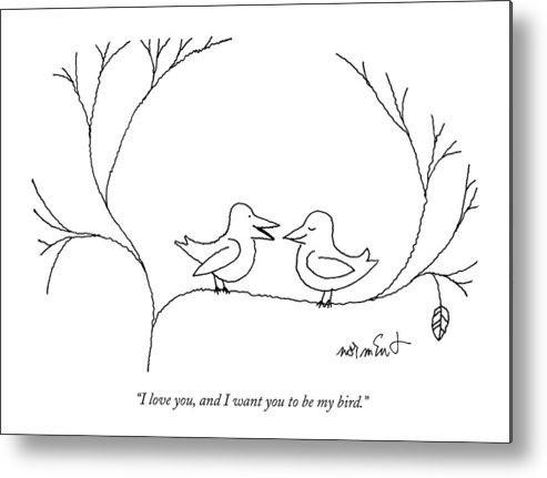 68322 Metal Print featuring the drawing I Love You, And I Want You To Be My Bird by John Norment
