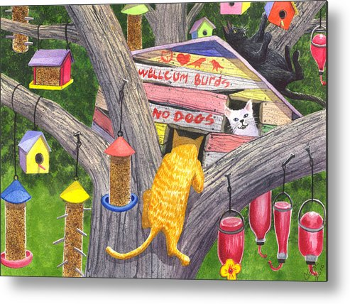 Cats Metal Print featuring the painting If Cats Could Pound Nails by Catherine G McElroy