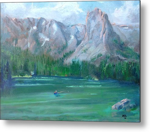 Landscape Metal Print featuring the painting Lake Mamie by Bryan Alexander