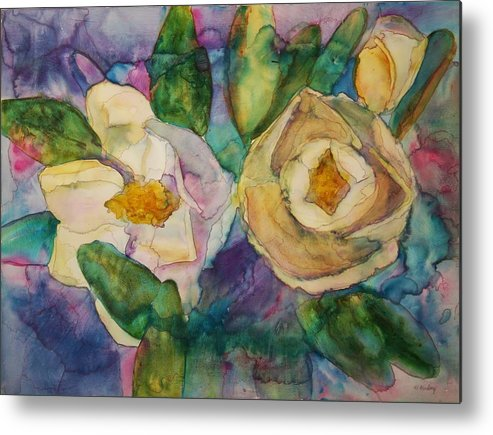 Flowers Metal Print featuring the painting Magnolia Kaleidescope by Helen Hickey