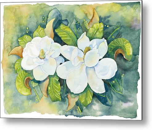 Flowers Metal Print featuring the painting Magnolias by Cathy Locke