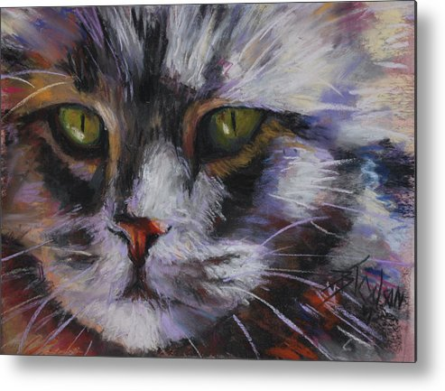 Cats Metal Print featuring the pastel Main Coon by Billie Colson