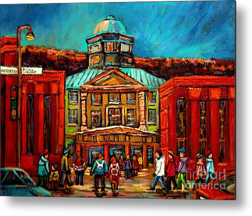 Montreal Metal Print featuring the painting Mcgill Gates Montreal by Carole Spandau