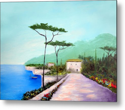Lake Como Metal Print featuring the painting Memories Of Lake Como by Larry Cirigliano